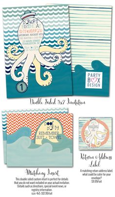 Octopus Birthday Boy-Octopus Birthday Boy, sea themed birthday parties, octopus birthday invitations