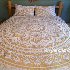 Gold mandala quilt cover and pillowcases  by TheFoxAndTheMermaid