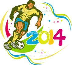 Brazil 2014 Football Player Running Ball Retro Vector Stock Illustration