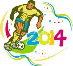 Brazil 2014 Football Player Running Ball Retro Vector Stock Illustration