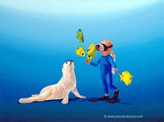 "CALF LOVE - Amour juvénile - oil on canvas by Pascal The Painter of Blue  31x41cm 12""x 16"" Lec730 2006 priv.coll.Angers France.  pascal lecocq Available as print on canvas and paper. #babyseal #art #blue #painterofblue #painting #painter #artist #contemporaryartcurator #artstack #artcartridge #artcollectae #glarify #in #pint."