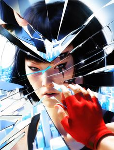 Aesthetics are a set of principles concerned with the nature and appreciation of beauty, esp. in art. This image contains many elements that are involved in the aesthetic experience, but contrast is most prevalent. Mirror's Edge's Faith's soft features are contrasted against the angular pieces of the shattered mirror. This amplifies her beautiful qualities by placing them in something imperfect and chaotic. The cityscape represents society, and its desaturated blues and whites contrast…