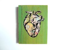 Yellow & Green Anatomical Heart Wall Hanging with Romance Comic