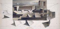 Friedrich Gilly: Perspektivisches Studienblatt mit landschaftlicher Szenerie, um 1800 © Staatliche Museen zu Berlin / Kunstbibliothek; CC NC-BY-SA