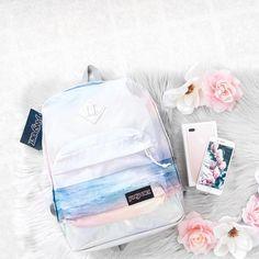 pastel colored sunrise in a beautiful beach at sunrise backpack from jansport Mochila Jansport, Jansport Backpack, Backpack Bags, Fashion Backpack, Hiking Backpack, Tumblr School Supplies, Cute School Supplies, Stylish Backpacks, Cute Backpacks