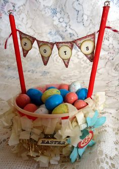 Easter candy cup made using vintage products from Vintage Street Market.