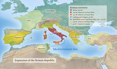 Map of the Roman Republic- This color coded map highlights the extent of control…
