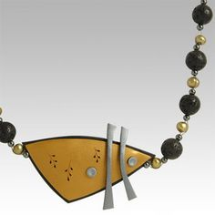 Golden Shield Necklace in Contrasting Polymer Clay by Wiwat Kamolpornwijit