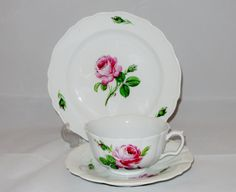Meissen Cup Saucer and Cake Plate Rose Motif by TimetrekVintage