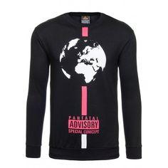 Mikina pre pánov čiernej farby bez kapucne s nápisom a planétou Zem - fashionday.eu