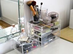 Love the idea of drawers for different product types. Much nicer than searching through a makeup bag.