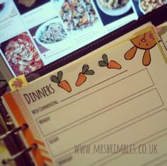 Meal planning with my bunny filofax printables / inserts whilst pinning on pinterest! http://www.mrsbrimbles.co.uk