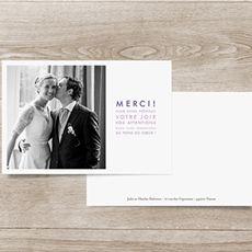 Carte de remerciement mariage Justifié 1 photo