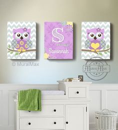 "Girls wall art - Baby Nursery Decor ,OWL canvas art,  Owl Canvas Set, 10""x 12"" woodland nursery art , Owl print for nursery, Purple and gray"