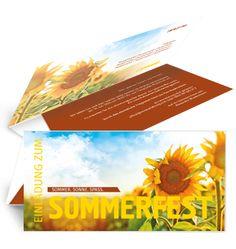 Sommerfest Einladungskarten mit Sonnenblumen. #sonnenblume #sommerfest #sommer