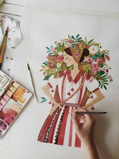Woman with flowers illustration Art And Illustration, Floral Illustrations, Illustrations And Posters, Watercolor Illustration, Watercolor Paintings, Watercolour, Gouache Painting, Painting & Drawing, Painting Inspiration