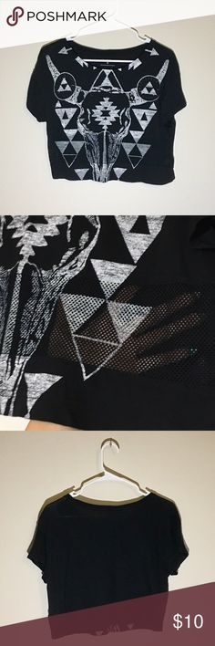 Express Black Top with Mesh Details at Waist Black top with tribal design and mesh details around the waist area. Express Tops