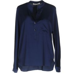 Sorelle Seclì Blouse ($90) ❤ liked on Polyvore featuring tops, blouses, dark blue, v neck blouse, dark blue blouse, long sleeve tops, blue long sleeve top and long sleeve blouse