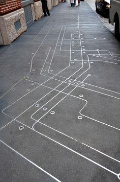Subway Map Floating on a NYC Sidewalk Francoise Schein  SoHo, New York, NY