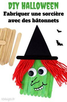 Découvrez un bricolage d'Halloween facile pour les enfants consistant à créer une petite sorcière à partir de bâtonnets de glace en bois.
