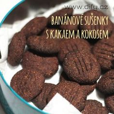 Sušenky s banánem, kokosem a kakaem, jednoduchý recept Healthy Christmas Cookies, Healthy Cookies, Healthy Dessert Recipes, Healthy Baking, Healthy Desserts, Baby Food Recipes, Sweet Recipes, Delicious Desserts, Yummy Food