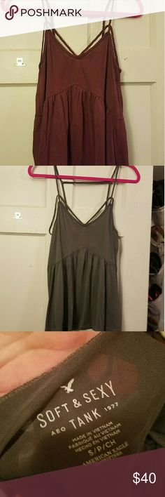 Peplum tank Set of 2 Soft & Sexy strappy peplum tank from American Eagle. Only worn once each. Super soft & comfy!! American Eagle Outfitters Tops Tank Tops
