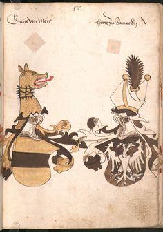 Wernigeroder (Schaffhausensches) Wappenbuch Süddeutschland, 4. Viertel 15. Jh. Cod.icon. 308 n  Folio 58r