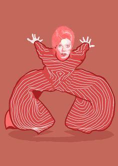 Desenho que fiz, usando de base uma tradicional foto do Bowie(Ziggy), e vai virar poster aqui em casa!