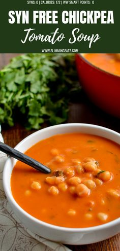 A delicious and Easy Syn Free Chickpea and Tomato Soup – that the entire family … Eine leckere und Easy Syn Free Kichererbsen- und Tomatensuppe – die die ganze Familie genießen wird. Vegetarian Soup, Healthy Soup, Vegetarian Recipes, Healthy Eating, Cooking Recipes, Healthy Recipes, Vegan Chickpea Recipes, Ww Recipes, Healthy Dinners