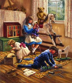 Edwardian Nursery -- two girls and a boy with their toys. Original Artwork by Kevin Walsh. with a doll Vintage Pictures, Art Pictures, Nostalgic Images, Puzzle Art, Decoupage Vintage, Toy Rooms, Vintage Children, Kids Playing, Art History