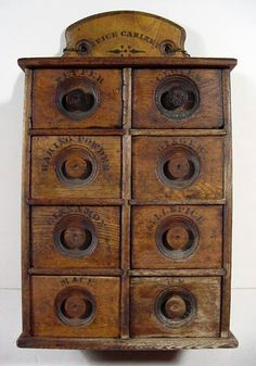 My parents had one of these.have no idea what happened to it? 1895 Oak Spice Cabinet Hanging Wall 8 Drawer Old Vintage Kitchen Wood Primitive Kitchen, Primitive Antiques, Vintage Antiques, Kitchen Wood, Primitive Country, Kitchen Decor, Primitive Furniture, Antique Furniture, Deco Champetre