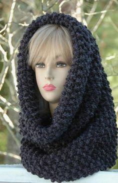 Chunky Hand Knit Infinity Scarf Cowl Hood Snood In Neutral Charcoal Gr