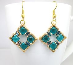 Teal and gold silky bead beadwoven earrings by BuzzybeeBeading