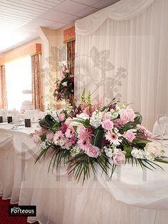 Maia Wedding Pink Top Table Flower Arrangement