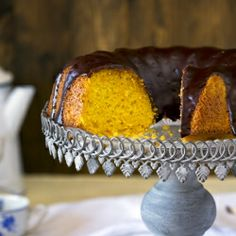 Succulent carrot sponge cake covered with chocolate.