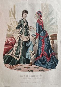 La Mode Illustrée 1876 1870s Fashion, Edwardian Fashion, Vintage Fashion, Fashion Prints, Love Fashion, Fashion Design, French Fashion, Ladies Fashion, Gothic Fashion