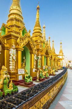 The golden stupas of Shwedagon Pagoda in the city of Yangon, Myanmar. #Myanmar