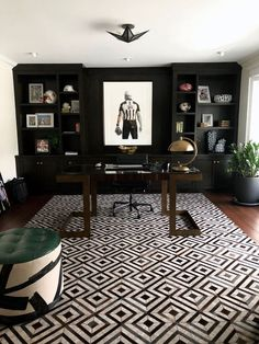 Amethyst Home Gorgeous modern & masculine office space. Dorado rug from Loloi. Design by Lisa Hollingsworth Design. Rug from Amethyst home. I love the black office cabinets with copper accents. Modern Office Design, Office Interior Design, Home Office Decor, Office Interiors, Home Decor, Office Ideas, Office Designs, Modern Offices, Modern Interiors