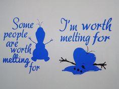 """Frozen couple shirts - Disney couple shirts - Disney shirts - Couple shirts - Olaf shirt - """" I am worth melting for"""" shirt - Frozen shirts"""