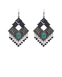 Boucles d'oreilles chandelier forme losange à découpe avec pierre turquoise et franges   New Look
