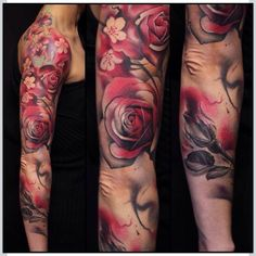 Rose sleeve tattoo by Jose Contreras #Tattoo #NoRegrets #Rose #SleeveTattoo