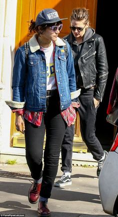 A match made in heaven: Kristen Stewart and her new girlfriend SoKo were sartorially in sync as they both sported dressed-down looks while out and about in Paris, France, on Thursday