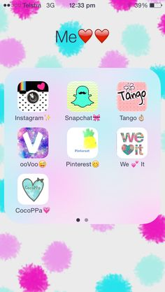 My fave apps! It includes Instagram, snapchat,tango,ooVoo,Pinterest,we heart it and cocoppa