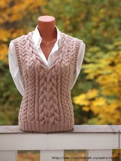 91bbce614fa3d6efe705fbaa15oe--odezhda-svetlo-bezhevyj-zhilet-dlya-anny (420x560, 177Kb) Cable Knitting, Sweater Knitting Patterns, Knitting Designs, Knit Patterns, Crochet Vest Pattern, Knit Crochet, Pull Torsadé, Mode Vintage, Crochet Clothes