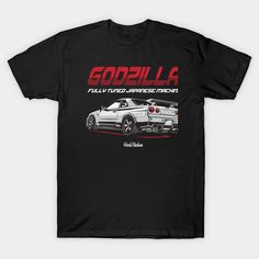 Skyline GTR JDM Z Tuned Racing Car is perfect for a car enthusiast Nissan R34, Skyline Gtr R34, Graphic Tees, Motorcycles, Fabric, Mens Tops, T Shirt, Cars, Black
