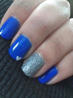 Blue and silver gel manicure
