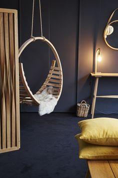 Dark interiors pop against lighter wooden grains to create a cosy atmosphere. Tom Raffield, Autumn Interior, Dark Interiors, Hanging Chair, Cosy, Lighter, Grains, Furniture Design, Contemporary