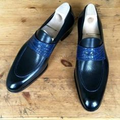 Navy Men's Two tone Shoes, Men spectator shoes, Men Party shoes, Men dress shoes Shoes Upper Genuine Leather Shoes Lining soft calf leather Shoes Sole genuine leather Shoes Heel genuine leather All hand stitch Manufacturing time 10 days For di. Spectator Shoes, Loafer Shoes, Loafers Men, Wingtip Shoes, Dress Loafers, Tassel Loafers, Brogues, Leather Men, Leather Boots