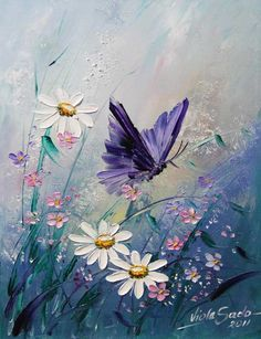 Beautiful purple butterfly and wildflowers painting. I must try to paint this! Viola Sado Beautiful purple butterfly and wildflowers painting. I must try to paint this!
