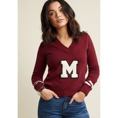 Varsity V-Neck Pullover Sweater (565 MAD) ❤ liked on Polyvore featuring tops, sweaters, v-neck sweater, stripe sweater, red stripe sweater, striped sweater and fuzzy pullover